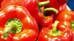 Dolly of sweet red and yellow peppers at the La Boqueria food market, Barcelona - stock footage