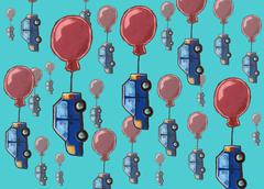 Background with oil-like painted cars hanging on a balloons - stock illustration