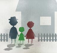 Illustration of family holding hands while standing outside house Stock Illustration