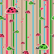 Seamless wallpaper with ladybirds Stock Illustration