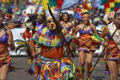 ARICA, CHILE - JANUARY 24, 2016: Tobas Dancers at the Carnaval Andino - stock photo