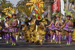 ARICA, CHILE - JANUARY 24, 2016: Morenada Dancers at the Carnaval Andino. Stock Photos