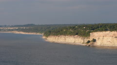 View from Högklint over the eroded limestone coast on the island of Gotland - stock footage