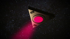 triangle space ship with beam - stock footage