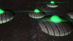 UFO formation in space Stock Footage