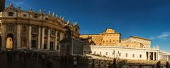 St. Peter Square is large plaza in Vatican City - stock photo