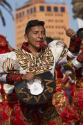 ARICA, CHILE - JANUARY 24, 2016: Caporales Dancers at the Carnaval Andino. - stock photo