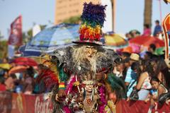 ARICA, CHILE - JANUARY 24, 2016: Tobas Dancers at the Carnaval Andino Stock Photos