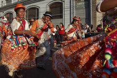 ARICA, CHILE - JANUARY 24, 2016: Dance Group at the Carnaval Andino. - stock photo