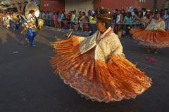ARICA, CHILE - JANUARY 24, 2016: Morenada Dancers at the Carnaval Andino Stock Photos