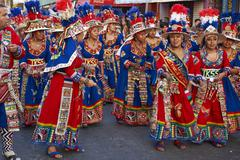 ARICA, CHILE - JANUARY 24, 2016: Tinku dance group at the Carnaval Andino Stock Photos