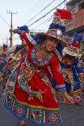 ARICA, CHILE - JANUARY 24, 2016: Tinku dance group at the Carnaval Andino Stock Photos