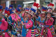 ARICA, CHILE - JANUARY 24, 2016: Tinku dance group at the Carnaval Andino - stock photo