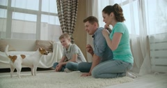 Cheerful family playing, to train your pet dog the Jack Russell Terrier Stock Footage