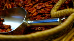 Dry red chilli peppers at the La Boqueria food market, Barcelona, Spain - stock footage