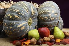 Autumn Fall Harvest Pumpkins, Nuts and Fruit. - stock photo