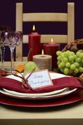 Happy Thanksgiving classic table setting. - stock photo