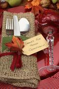 Rustic Thanksgiving Table Place Setting - stock photo