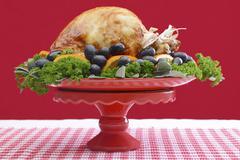 Festive Red Theme Thanksgiving Christmas Turkey Platter. Stock Photos