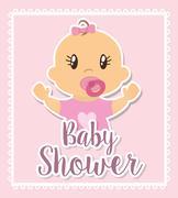 Baby shower design - stock illustration