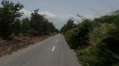 Africa Ghana drive pov savana road trees 4K Stock Footage