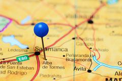 Alba de Tormes pinned on a map of Spain Stock Photos