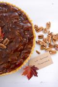 Traditional Thanksgiving Pecan Pie. Stock Photos