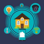 Home automation design - stock illustration