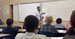 Teacher using whiteboard with class, back view, shot on R3D Stock Footage