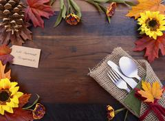 Happy Thanksgiving background with decorated borders. Stock Photos