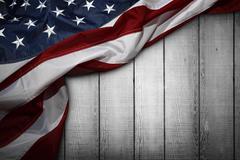 Closeup of American flag on wooden background Kuvituskuvat