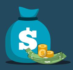 Money saving and money bag icon design, vector illustration - stock illustration