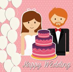 Wedding couple design - stock illustration