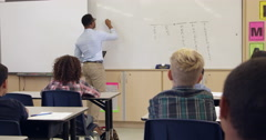 Schoolgirl writing on whiteboard in front class, shot on R3D Stock Footage