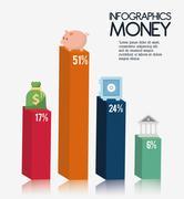 Infographics Money design, vector illustration Stock Illustration