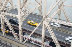 High angle view of vehicles on Queensboro Bridge over East River Stock Photos