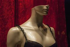 Close-up of mannequin wearing black bra for retail display at store Stock Photos