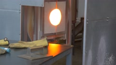 Employee is Engaged in Manufacture of Glass Products Stock Footage