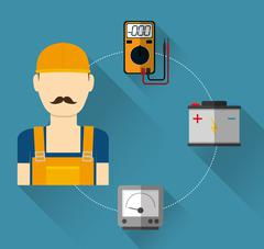 Electric technician man, vector illustration - stock illustration