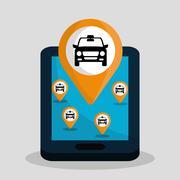 Car taxi icon. Public transport design. Taxi cab. Flat Style - stock illustration