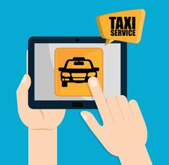 Car taxi icon. Public transport design. Taxi cab. Flat Style - stock illustration