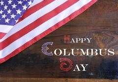 Happy Columbus Day greeting message - stock photo