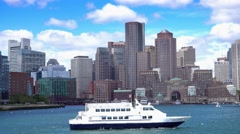 Boston Skyline Establishing Shot as Seen from Boston Inner Harbor Stock Footage