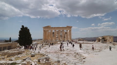 A wide shot of the Parthenon in the Acropolis of Athens, Greece Stock Footage