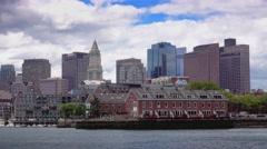 Boston Skyline Establishing Shot as Seen from Boston Inner Harbor  Stock Footage