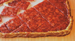 Human hands take to pieces of the strawberry pie Stock Footage