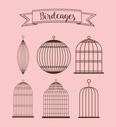 Birdcages icon. Decoration object. vintage concept, vector graph Stock Illustration