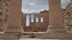 Inside Erechtheion in the Acropolis of Athens, Greece Stock Footage
