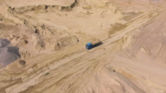 Aerial view of truck in sand quarry Stock Footage