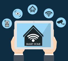 Smart home design. tablet icon. Vector graphic - stock illustration